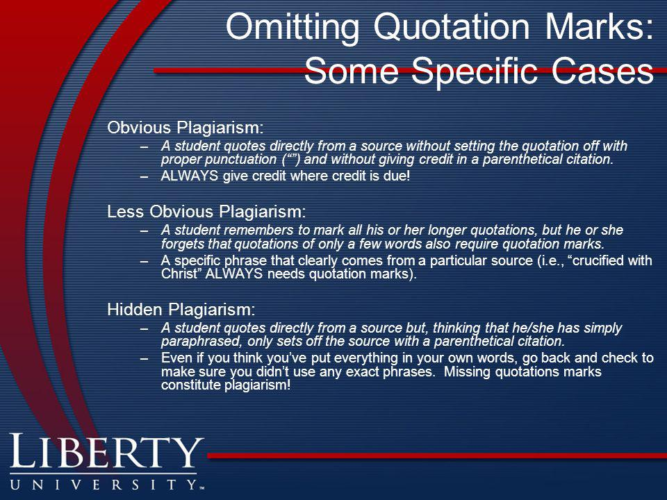 Omitting Quotation Marks: Some Specific Cases