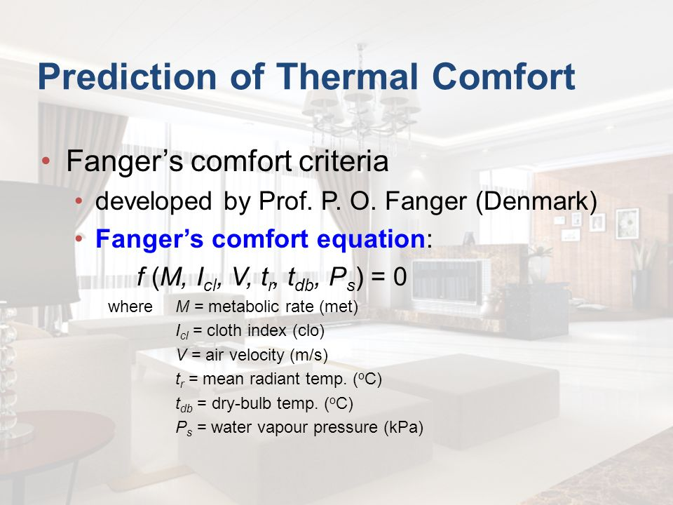 Prediction of Thermal Comfort