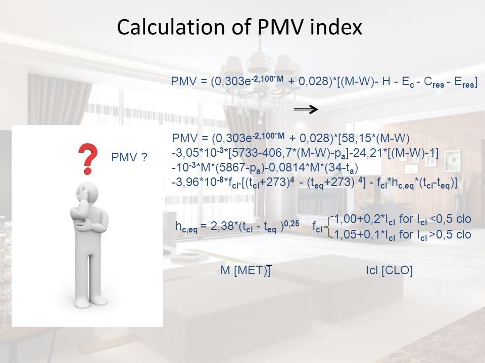 Calculation of PMV index