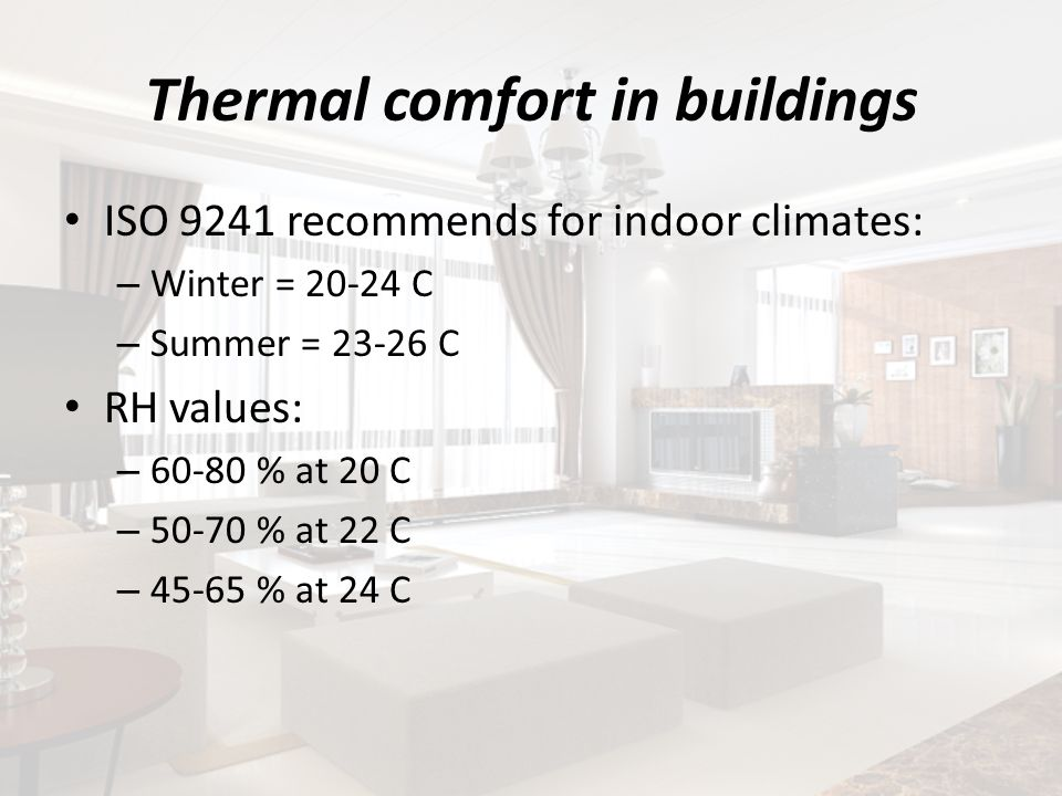 Thermal comfort in buildings