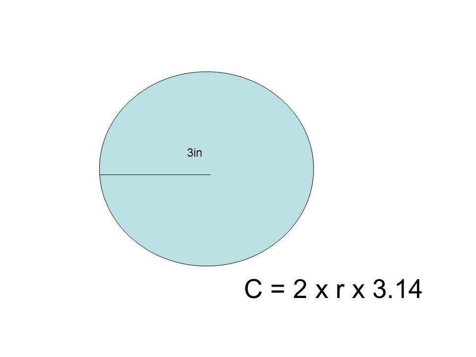 3in C = 2 x r x 3.14