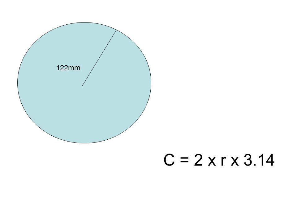 122mm C = 2 x r x 3.14