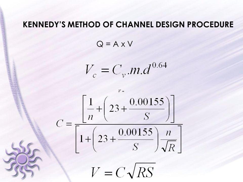 KENNEDY'S METHOD OF CHANNEL DESIGN PROCEDURE