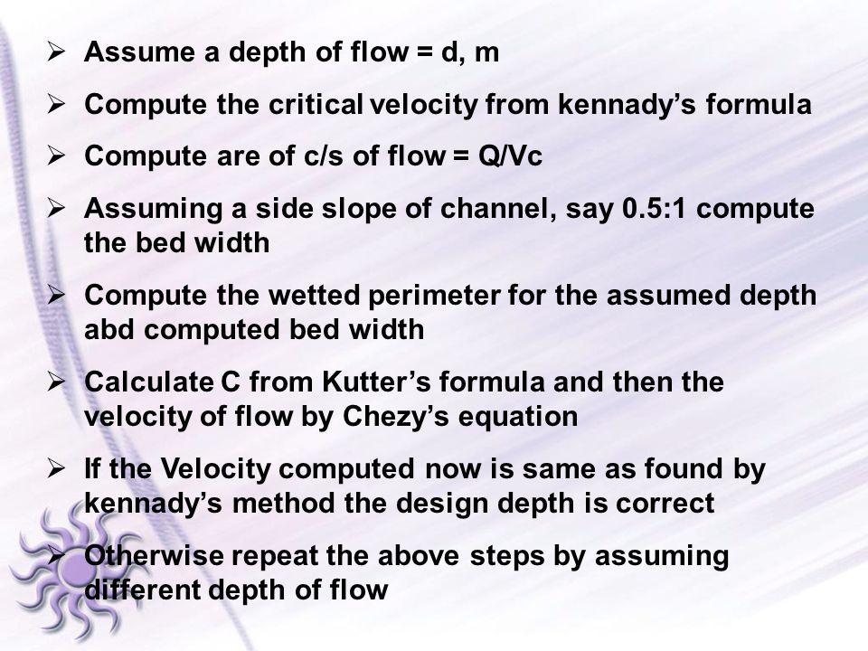 Assume a depth of flow = d, m