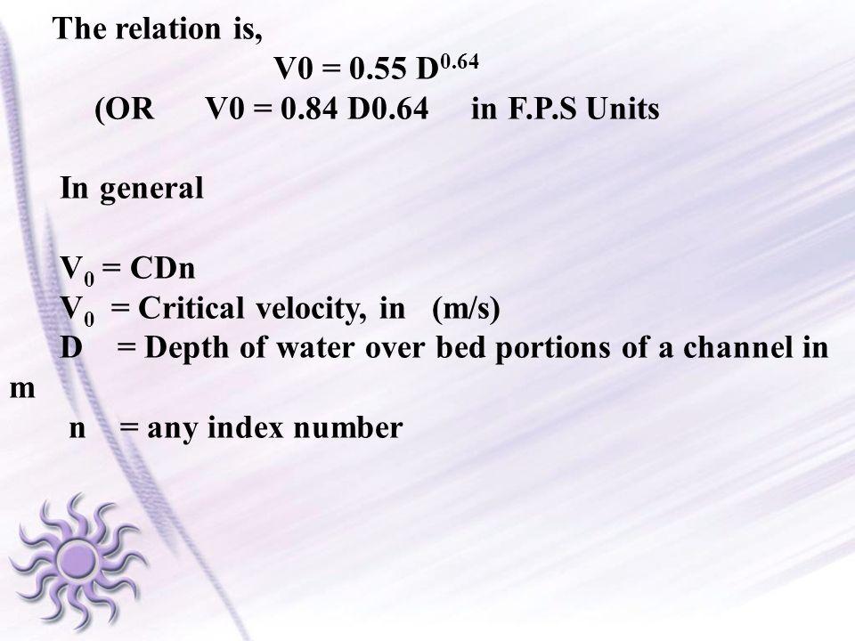 The relation is, V0 = 0.55 D0.64. (OR V0 = 0.84 D0.64 in F.P.S Units. In general. V0 = CDn.