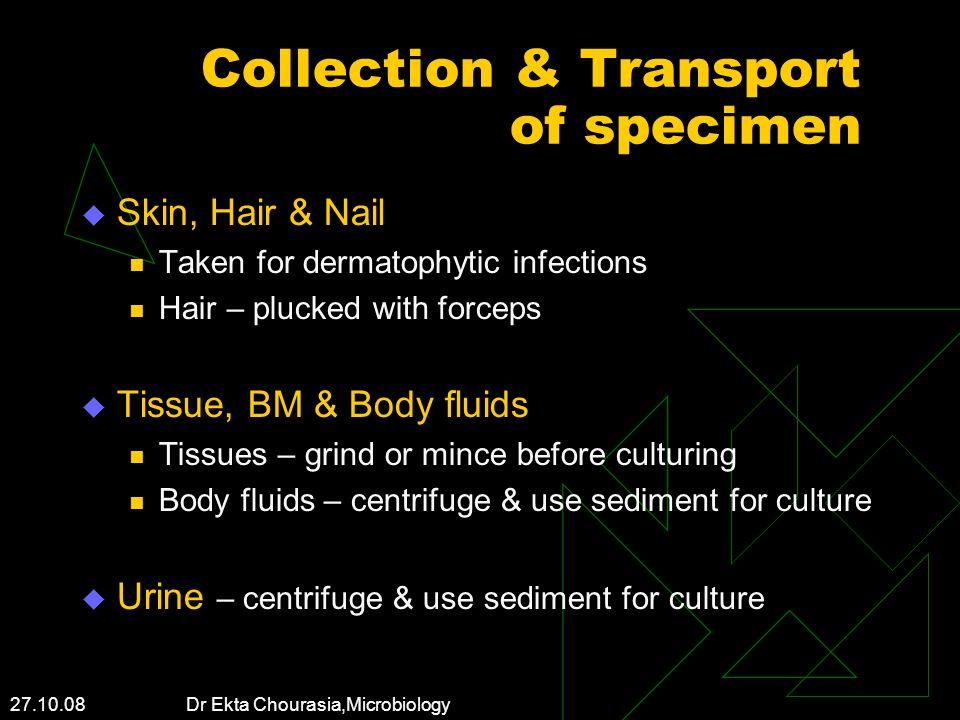 Collection & Transport of specimen