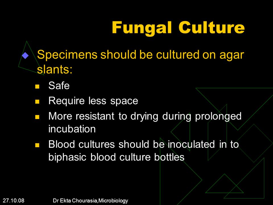Fungal Culture Specimens should be cultured on agar slants: Safe