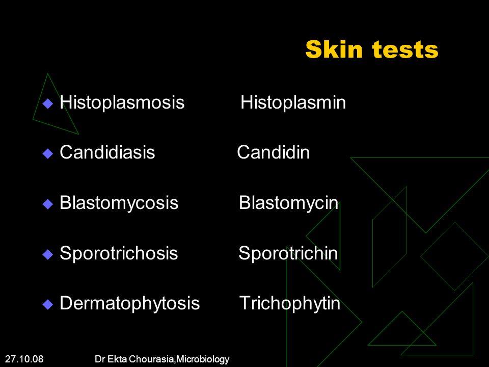 Skin tests Histoplasmosis Histoplasmin Candidiasis Candidin