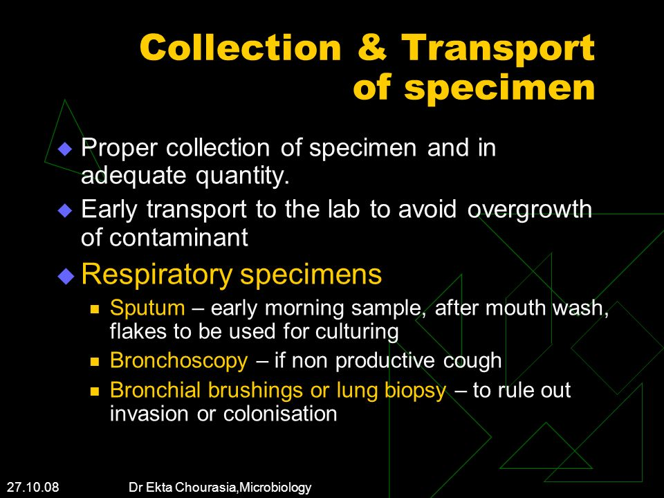 Collection & Transport of specimen