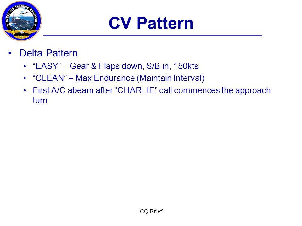 CV Pattern Delta Pattern EASY – Gear & Flaps down, S/B in, 150kts