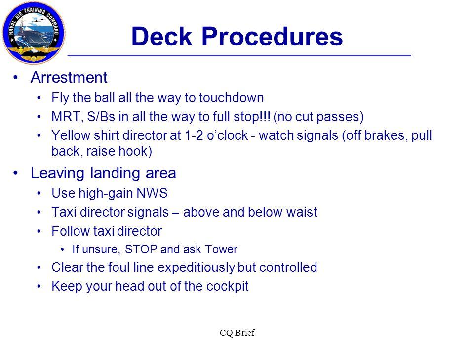 Deck Procedures Arrestment Leaving landing area