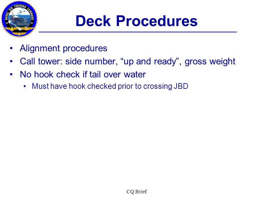 Deck Procedures Alignment procedures