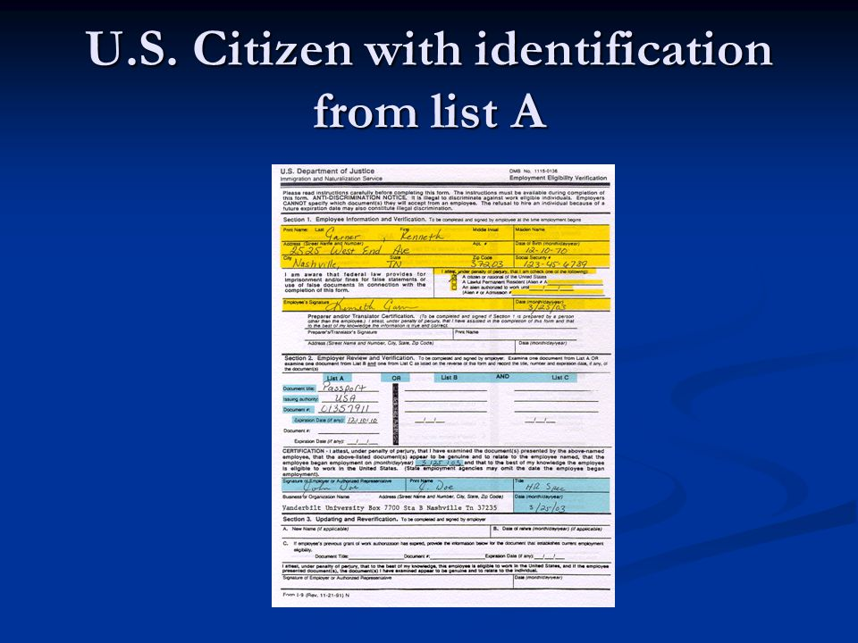 U.S. Citizen with identification from list A