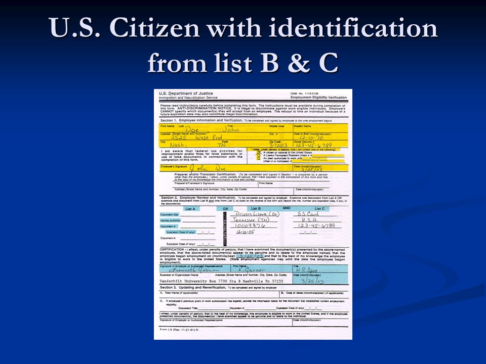 U.S. Citizen with identification from list B & C