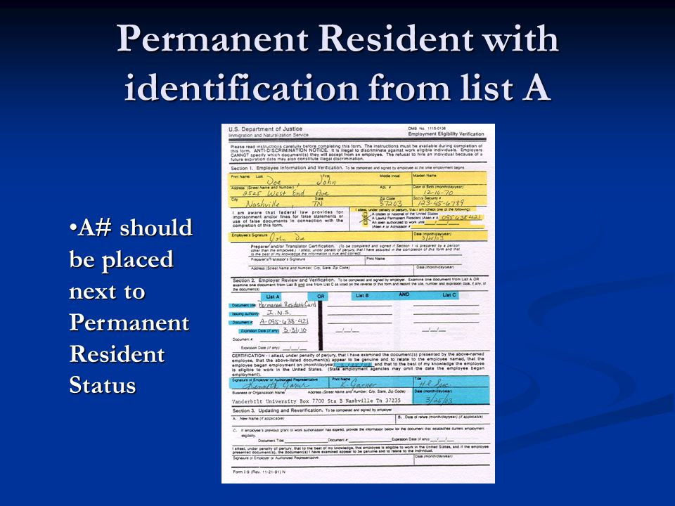 Permanent Resident with identification from list A