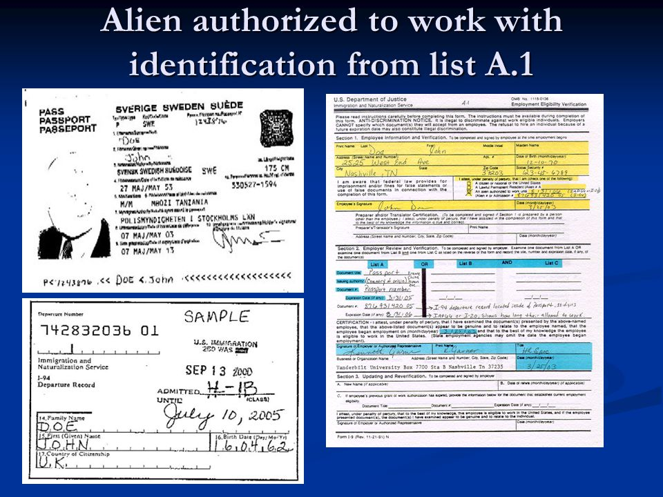 Alien authorized to work with identification from list A.1