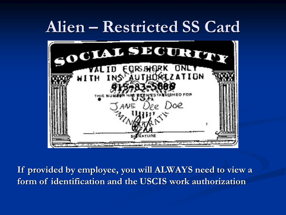 Alien – Restricted SS Card