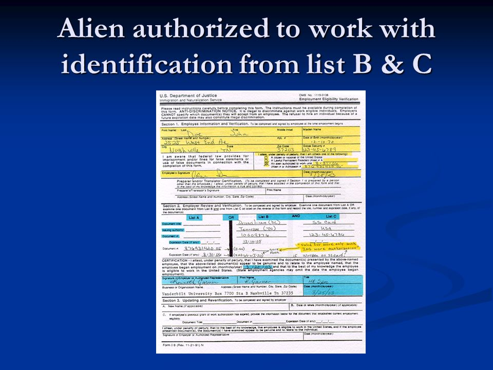 Alien authorized to work with identification from list B & C