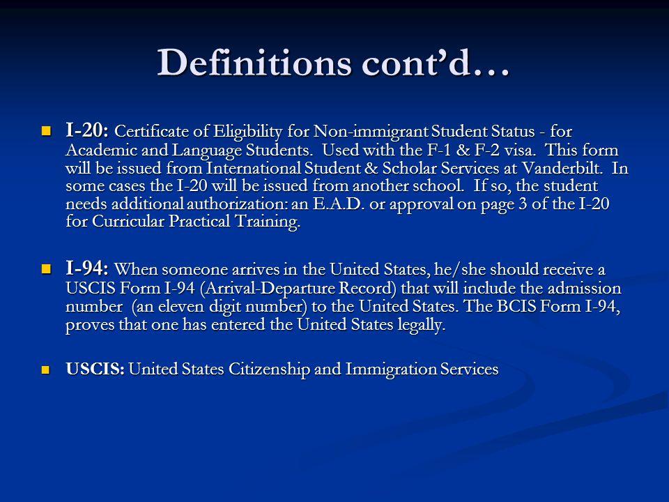 Definitions cont'd…