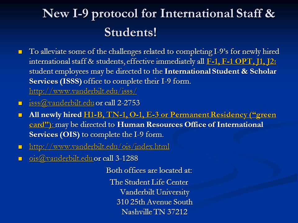 New I-9 protocol for International Staff & Students!