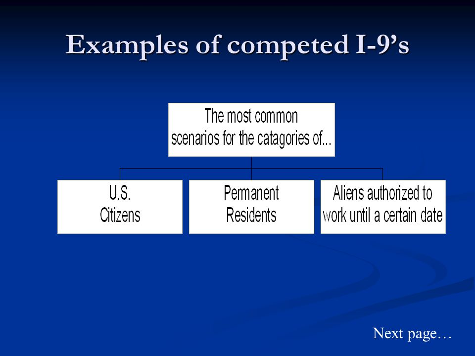Examples of competed I-9's