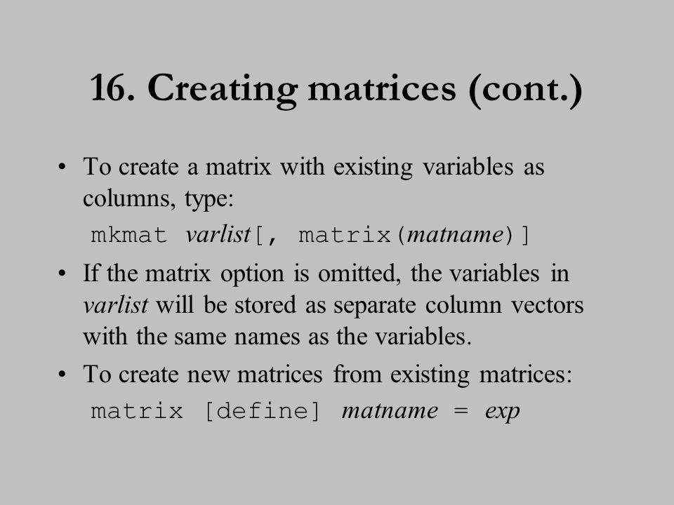 17. Matrix operators and functions
