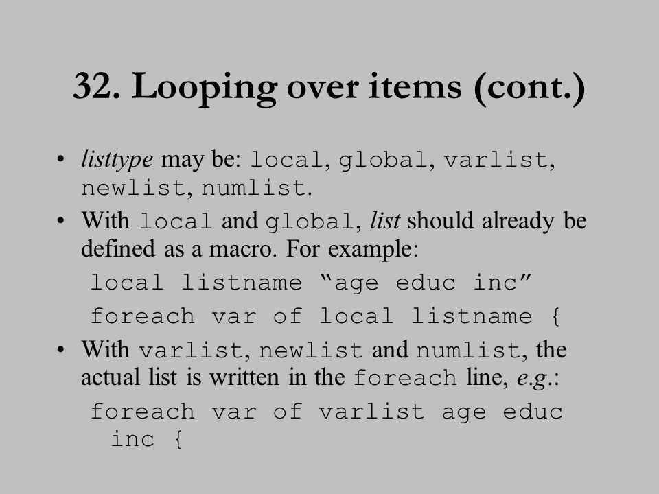 33. Looping over items (cont.)