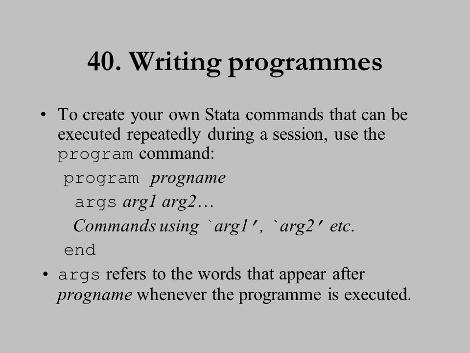 41. Writing programmes (cont.)