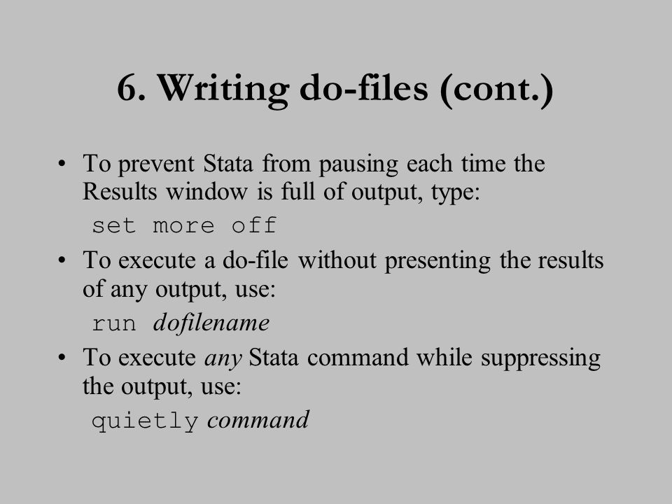 7. Types of Stata commands
