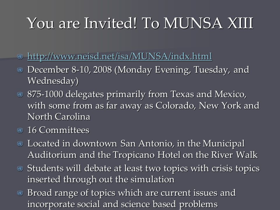You are Invited! To MUNSA XIII