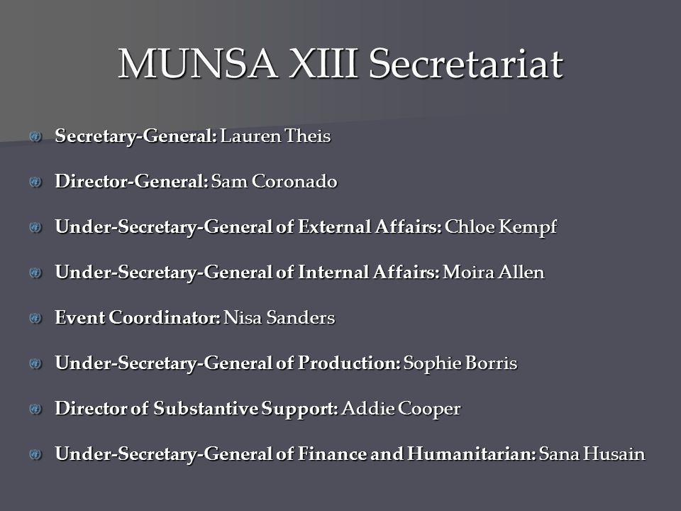 MUNSA XIII Secretariat