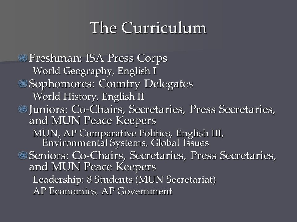 The Curriculum Freshman: ISA Press Corps Sophomores: Country Delegates