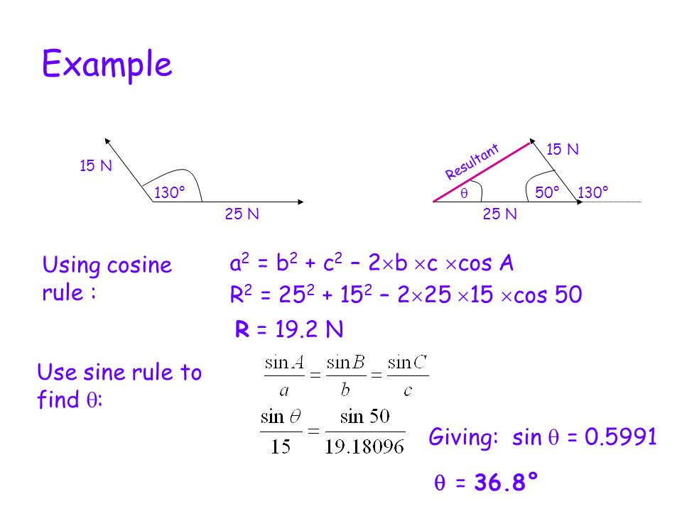 Example a2 = b2 + c2 – 2b c cos A Using cosine rule :