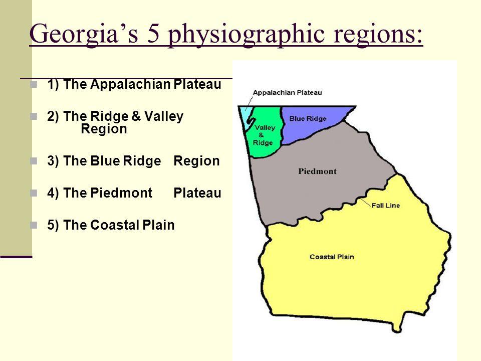 Georgia's 5 physiographic regions: