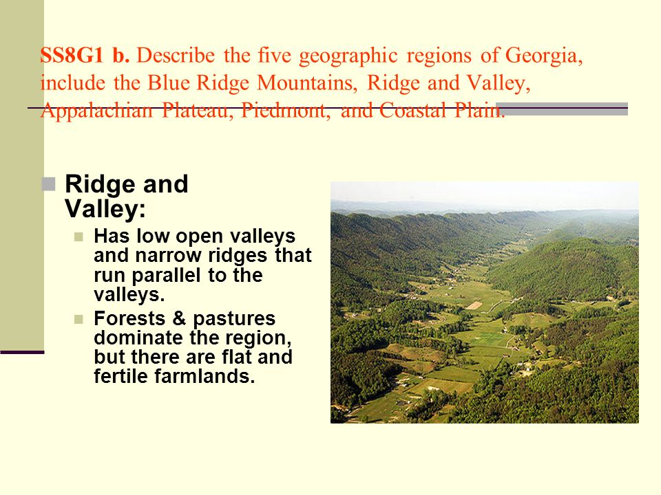 SS8G1 b. Describe the five geographic regions of Georgia, include the Blue Ridge Mountains, Ridge and Valley, Appalachian Plateau, Piedmont, and Coastal Plain.