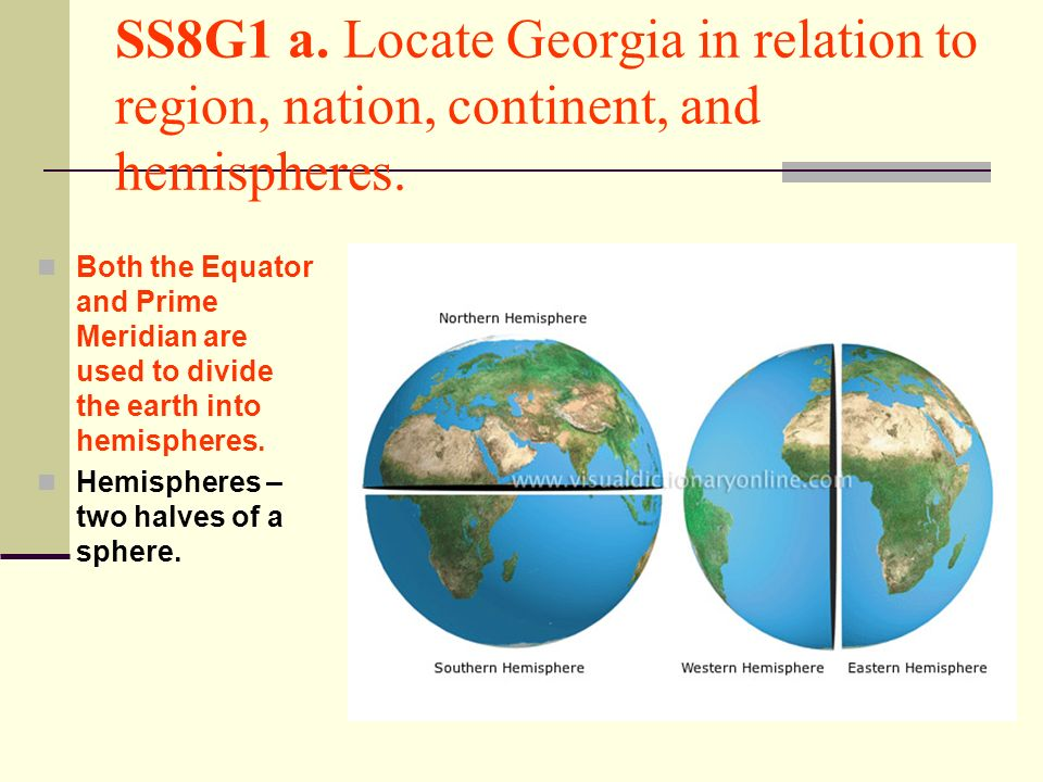 SS8G1 a. Locate Georgia in relation to region, nation, continent, and hemispheres.
