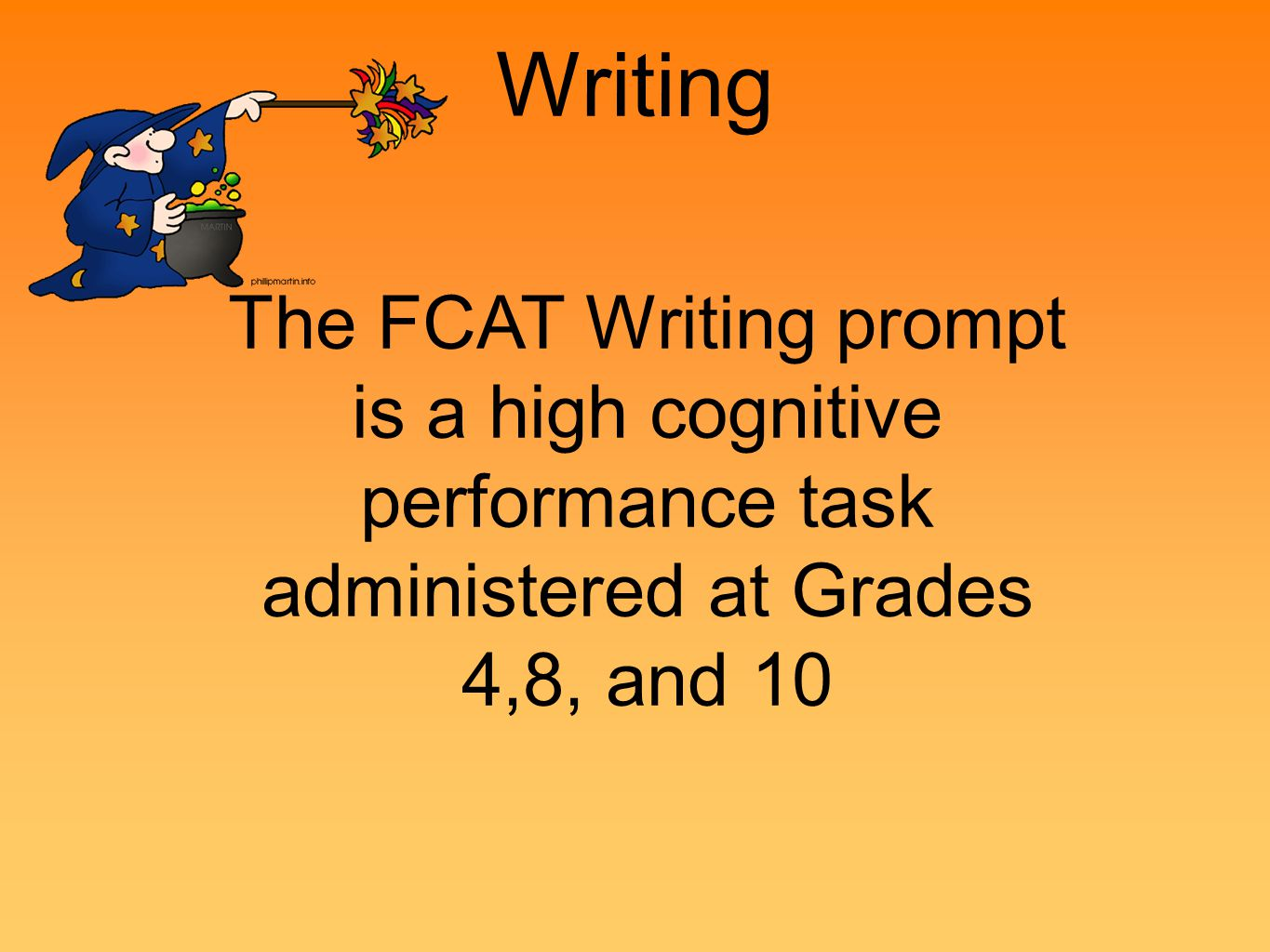 Writing The FCAT Writing prompt is a high cognitive performance task administered at Grades 4,8, and 10.