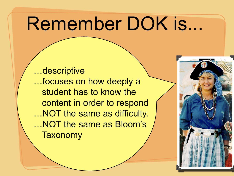Remember DOK is... …descriptive