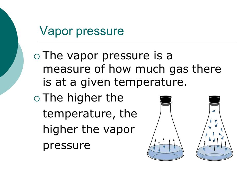 Vapor pressure The vapor pressure is a measure of how much gas there is at a given temperature. The higher the.
