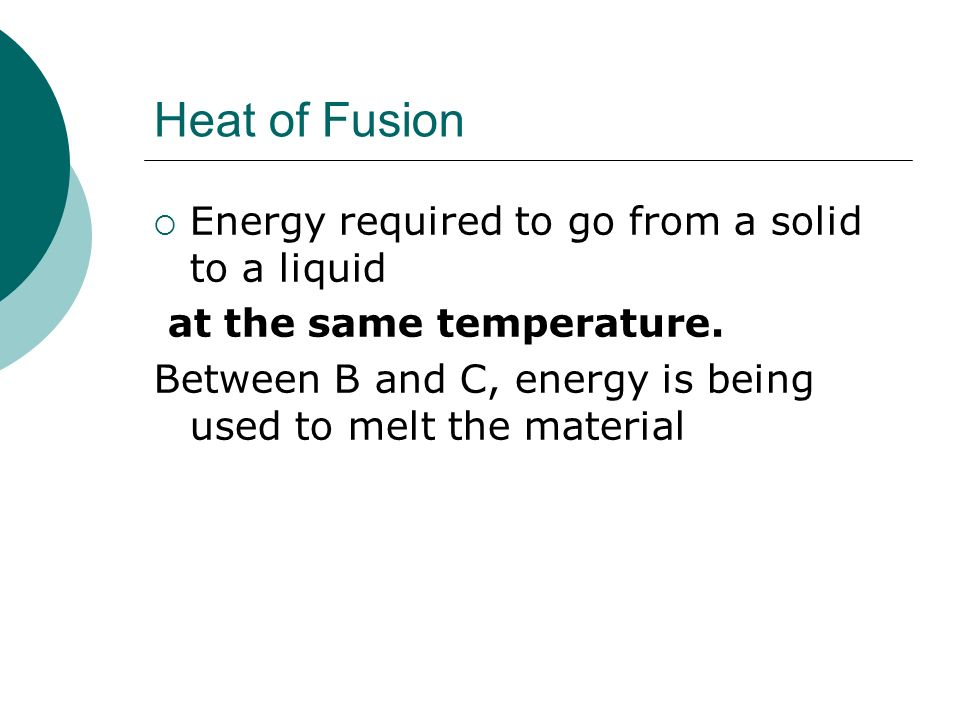 Heat of Fusion Energy required to go from a solid to a liquid