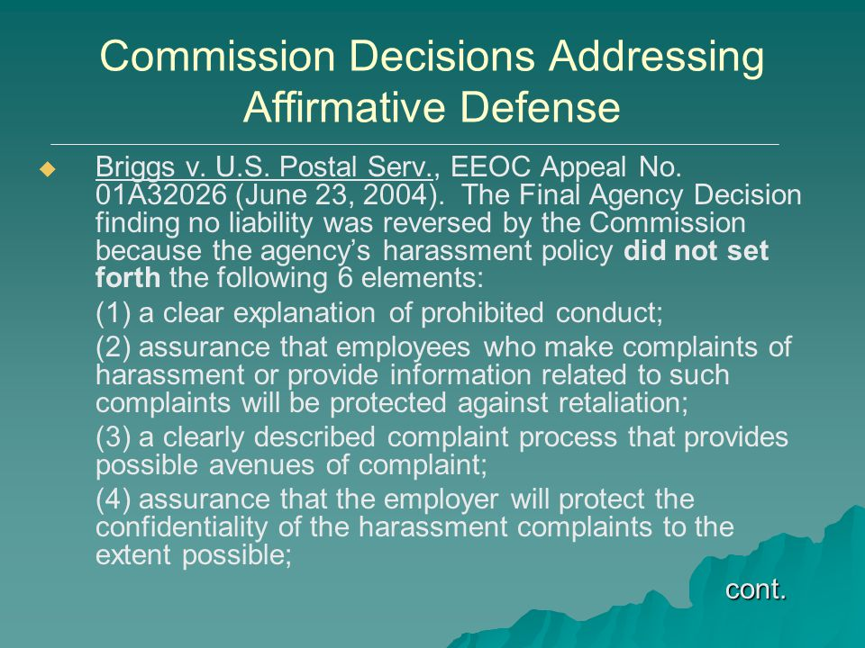 Commission Decisions Addressing Affirmative Defense