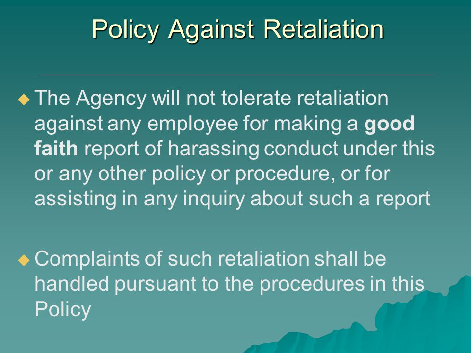 Policy Against Retaliation