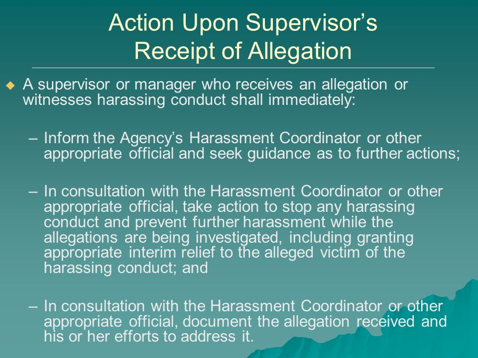 Action Upon Supervisor's Receipt of Allegation