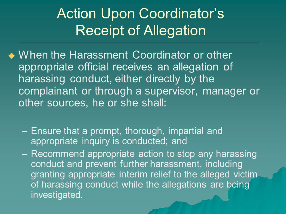Action Upon Coordinator's Receipt of Allegation