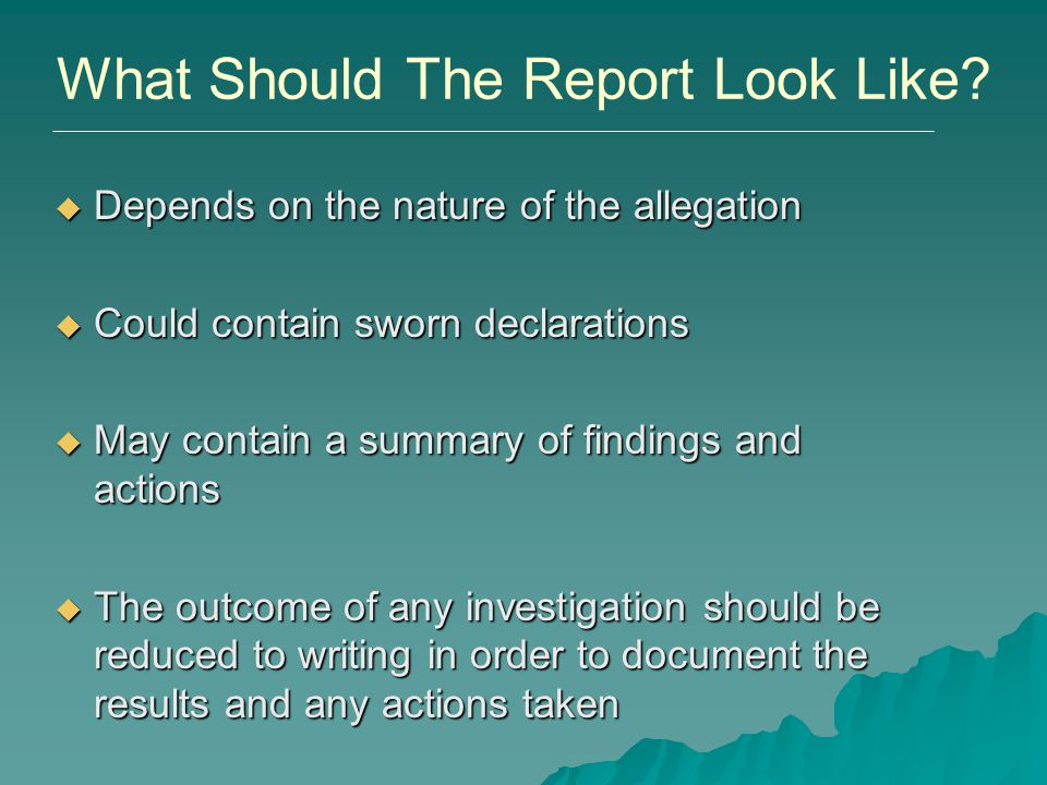 What Should The Report Look Like