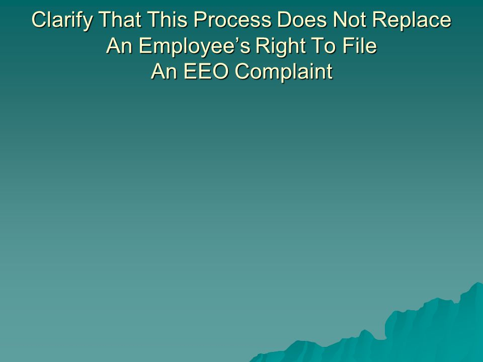 Clarify That This Process Does Not Replace An Employee's Right To File An EEO Complaint