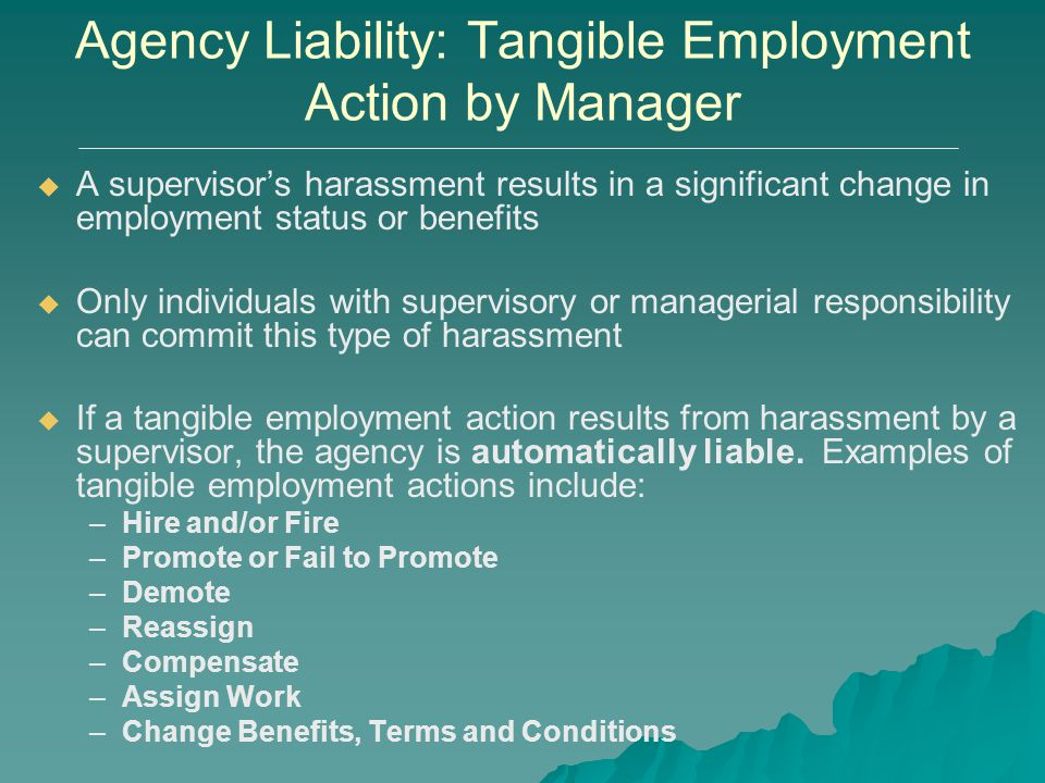 Agency Liability: Tangible Employment Action by Manager