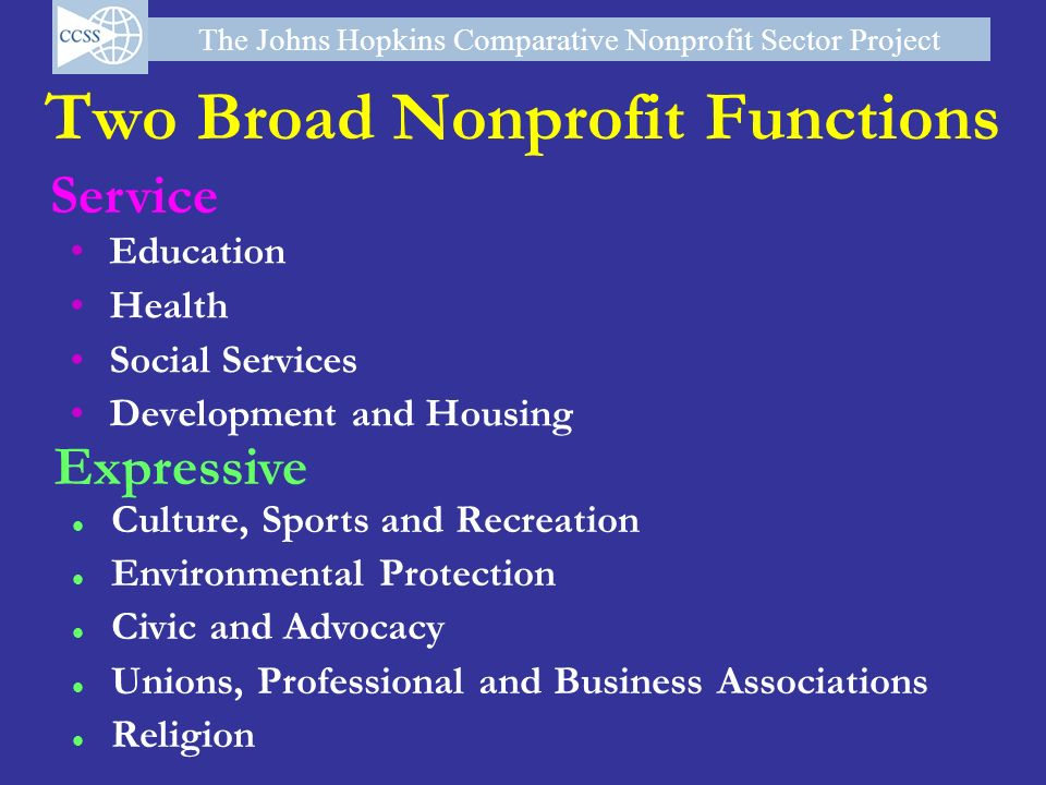 Two Broad Nonprofit Functions