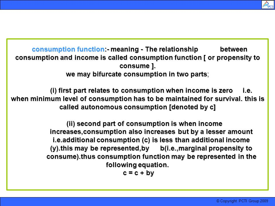 consumption function:- meaning - The relationship