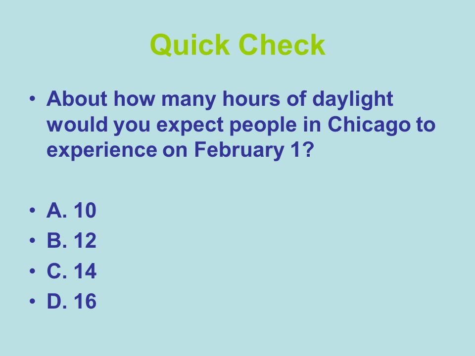 Quick Check About how many hours of daylight would you expect people in Chicago to experience on February 1
